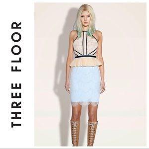 THREE FLOOR Forget Me Not Lace Peplum Dress